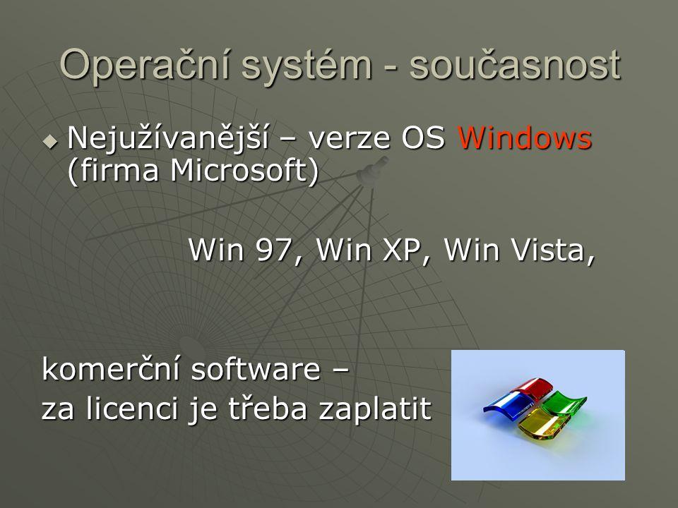 Operační systém - současnost  Nejužívanější – verze OS Windows (firma Microsoft) Win 97, Win XP, Win Vista, Win 97, Win XP, Win Vista, komerční softw