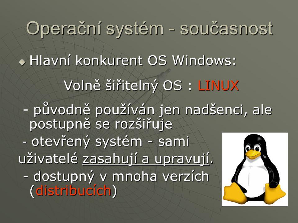Operační systém - současnost  Hlavní konkurent OS Windows: Volně šiřitelný OS : LINUX - původně používán jen nadšenci, ale postupně se rozšiřuje - pů