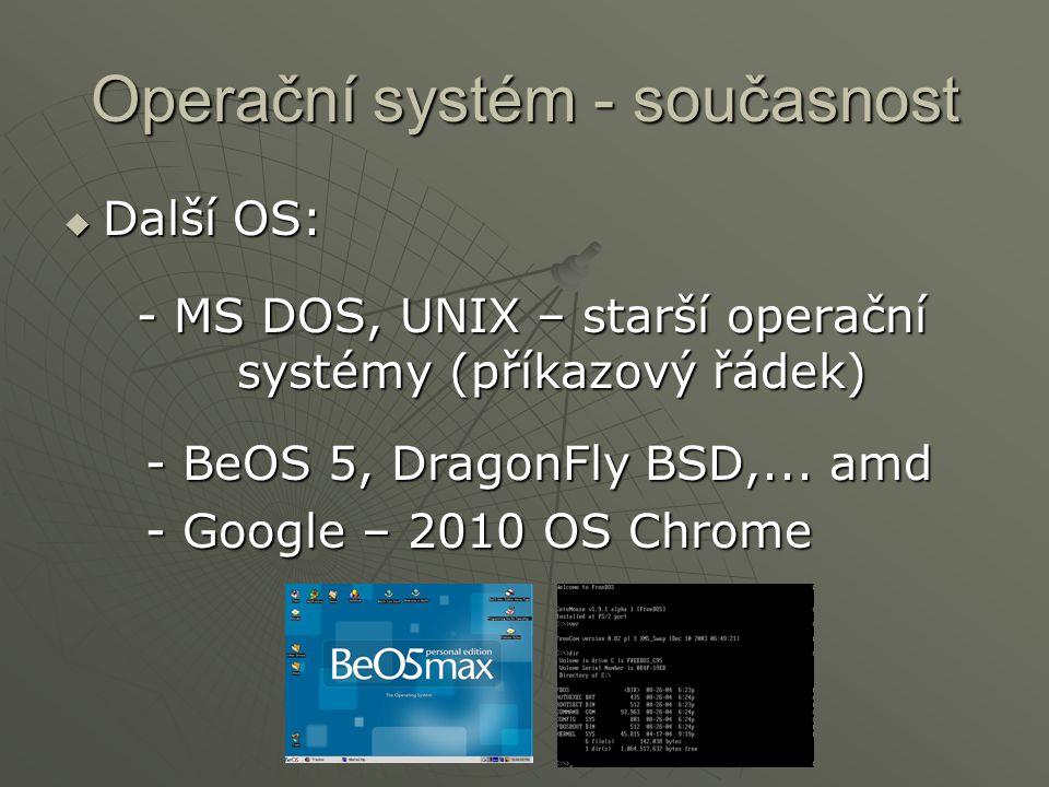 Operační systém - současnost  Další OS: - MS DOS, UNIX – starší operační systémy (příkazový řádek) - BeOS 5, DragonFly BSD,... amd - BeOS 5, DragonFl