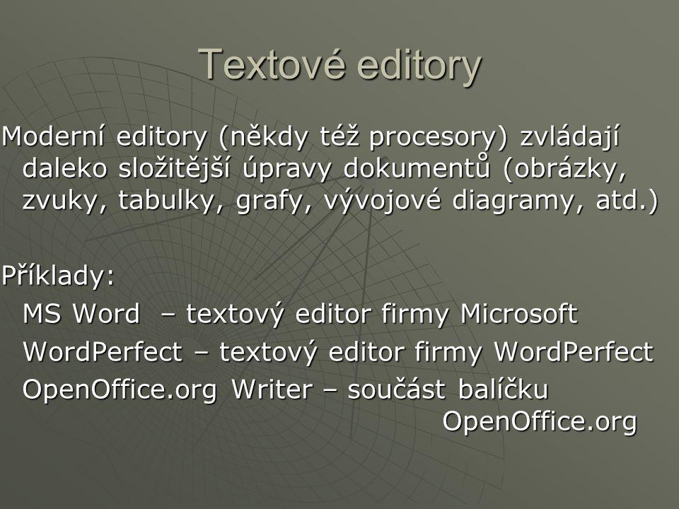 Textové editory Moderní editory (někdy též procesory) zvládají daleko složitější úpravy dokumentů (obrázky, zvuky, tabulky, grafy, vývojové diagramy,