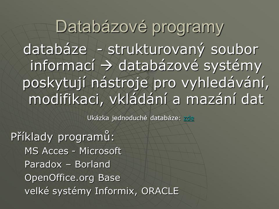 Databázové programy databáze - strukturovaný soubor informací  databázové systémy poskytují nástroje pro vyhledávání, modifikaci, vkládání a mazání d