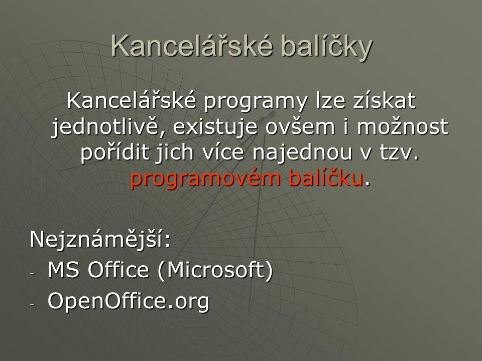 Kancelářské balíčky Kancelářské programy lze získat jednotlivě, existuje ovšem i možnost pořídit jich více najednou v tzv. programovém balíčku. Nejzná