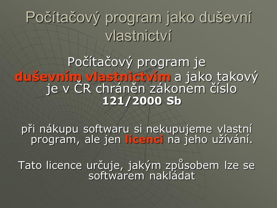 Počítačový program jako duševní vlastnictví Počítačový program je duševním vlastnictvím a jako takový je v ČR chráněn zákonem číslo 121/2000 Sb při ná