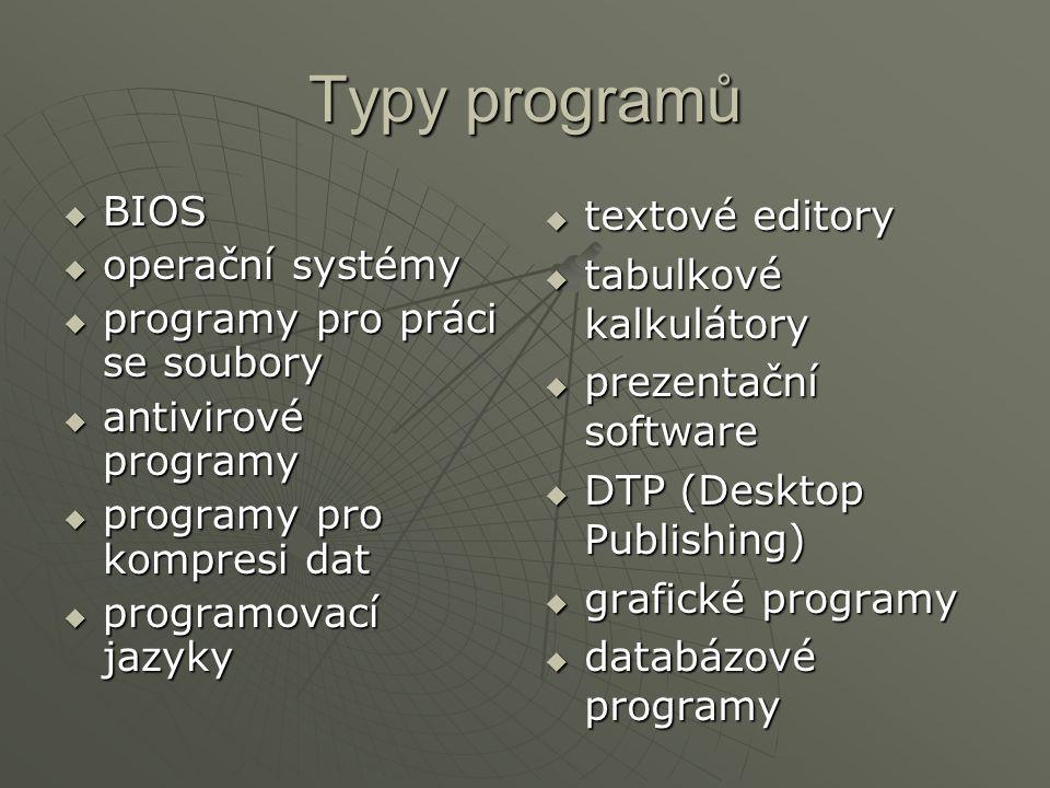 Typy programů  BIOS  operační systémy  programy pro práci se soubory  antivirové programy  programy pro kompresi dat  programovací jazyky  text