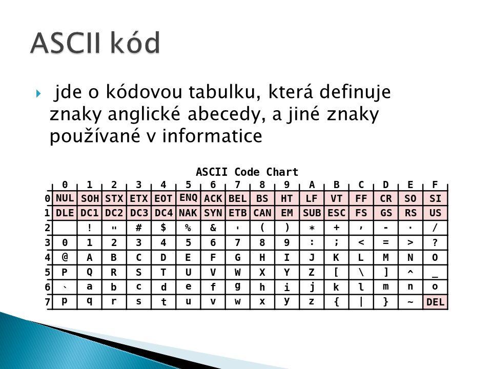  jde o kódovou tabulku, která definuje znaky anglické abecedy, a jiné znaky používané v informatice