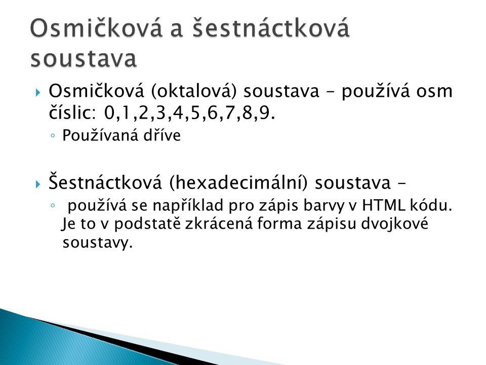 Desítková (dekadická) soustava Dvojková (binární) soustava 00000 10000 0001 20000 0010 30000 0011 40000 0100 50000 0101 60000 0110 70000 0111 80000 1000 90000 1001 100000 1010 110000 1011 120000 1100 130000 1101 140000 1110 150000 1111 160001 0000 170001 …… 2551111 ……