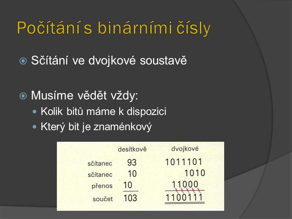  Sčítání ve dvojkové soustavě  Musíme vědět vždy: Kolik bitů máme k dispozici Který bit je znaménkový