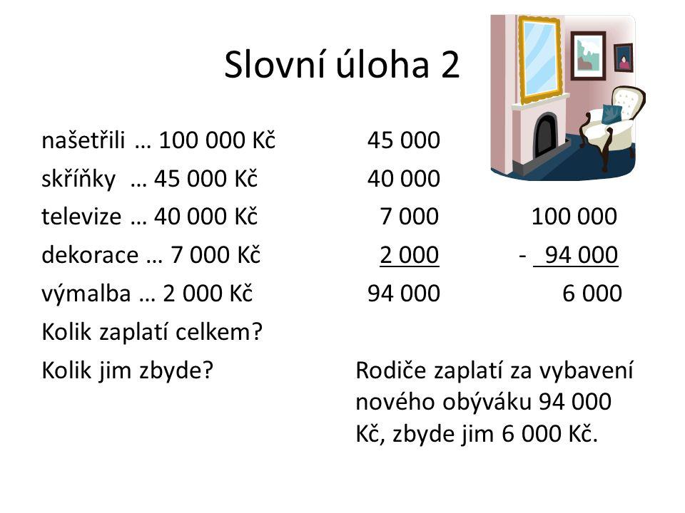 Slovní úloha 2 našetřili … 100 000 Kč skříňky … 45 000 Kč televize … 40 000 Kč dekorace … 7 000 Kč výmalba … 2 000 Kč Kolik zaplatí celkem.