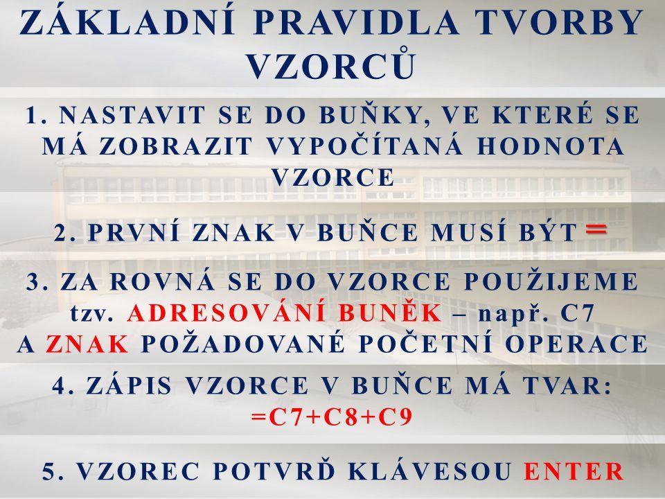 ZÁKLADNÍ PRAVIDLA TVORBY VZORCŮ 1.