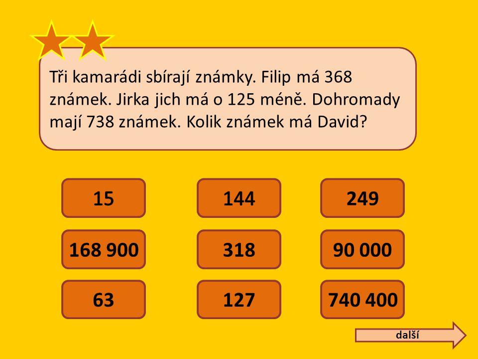 Tři kamarádi sbírají známky.Filip má 368 známek. Jirka jich má o 125 méně.