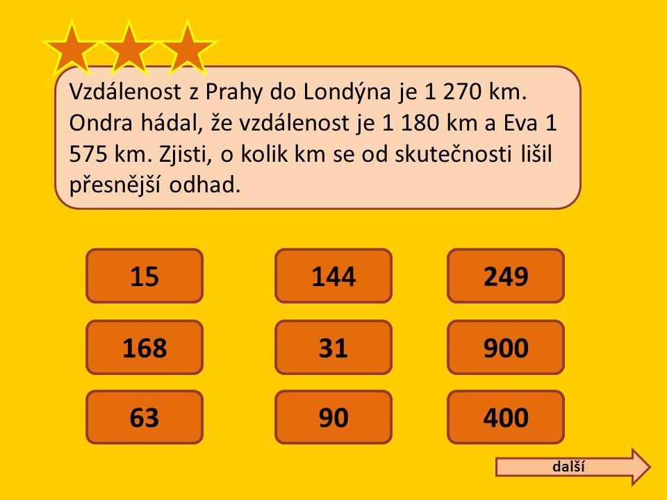 Vzdálenost z Prahy do Londýna je 1 270 km. Ondra hádal, že vzdálenost je 1 180 km a Eva 1 575 km.