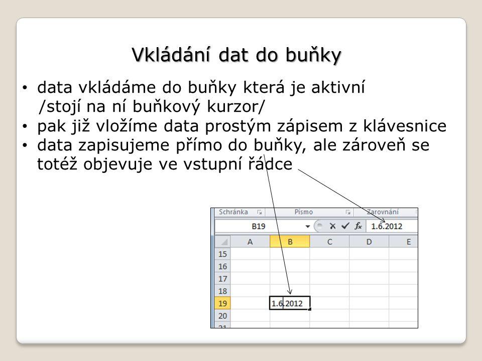 Vkládání dat do buňky data vkládáme do buňky která je aktivní /stojí na ní buňkový kurzor/ pak již vložíme data prostým zápisem z klávesnice data zapisujeme přímo do buňky, ale zároveň se totéž objevuje ve vstupní řádce