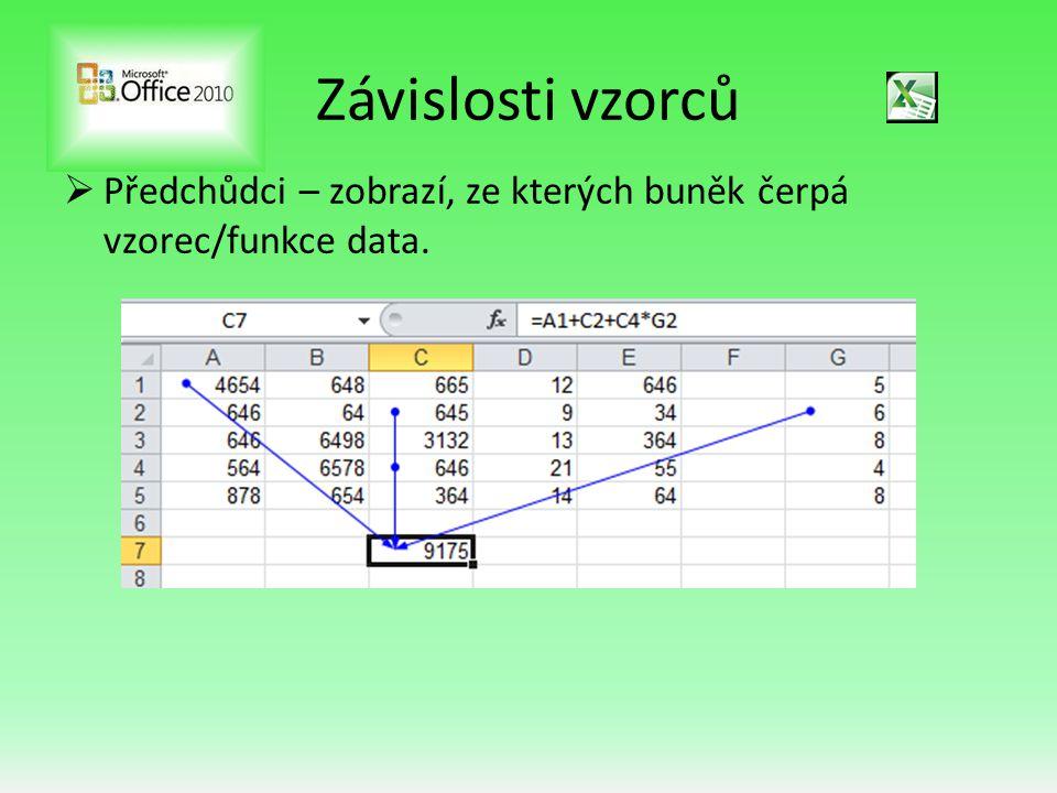 Závislosti vzorců  Předchůdci – zobrazí, ze kterých buněk čerpá vzorec/funkce data.