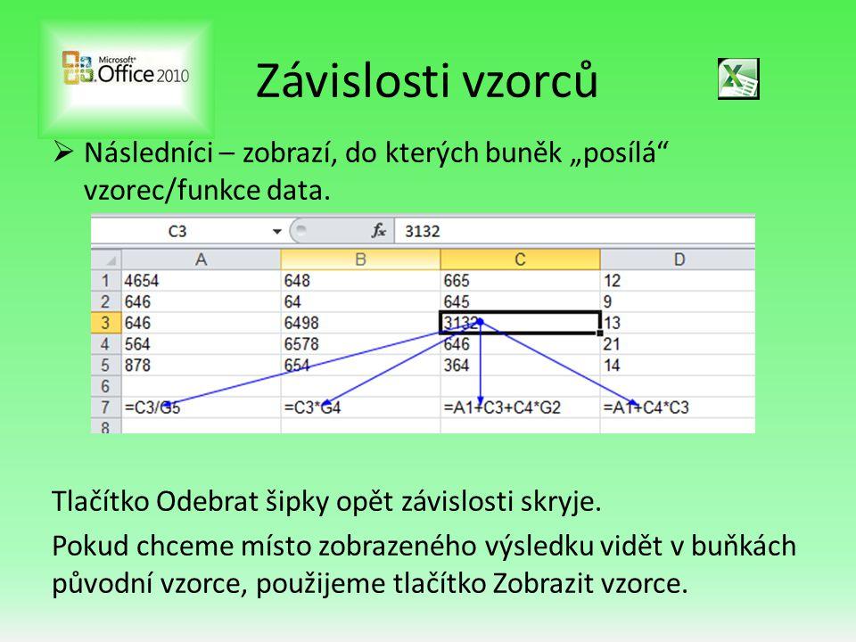 """Závislosti vzorců  Následníci – zobrazí, do kterých buněk """"posílá vzorec/funkce data."""