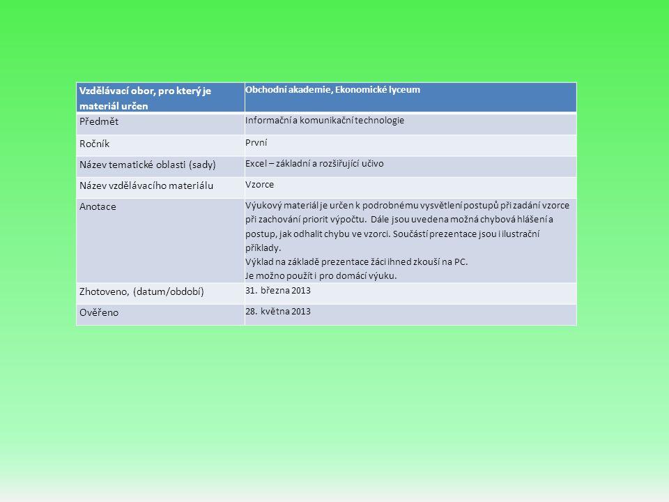 Vzdělávací obor, pro který je materiál určen Obchodní akademie, Ekonomické lyceum Předmět Informační a komunikační technologie Ročník První Název tematické oblasti (sady) Excel – základní a rozšiřující učivo Název vzdělávacího materiálu Vzorce Anotace Výukový materiál je určen k podrobnému vysvětlení postupů při zadání vzorce při zachování priorit výpočtu.