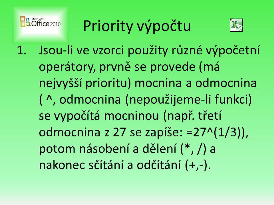 Priority výpočtu 1.Jsou-li ve vzorci použity různé výpočetní operátory, prvně se provede (má nejvyšší prioritu) mocnina a odmocnina ( ^, odmocnina (nepoužijeme-li funkci) se vypočítá mocninou (např.