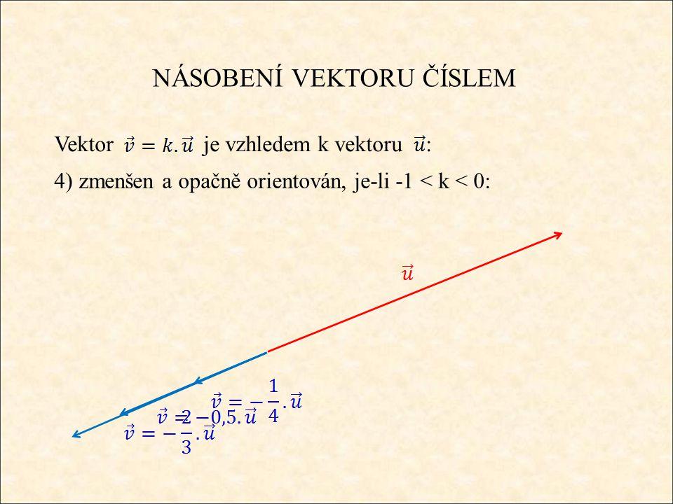 NÁSOBENÍ VEKTORU ČÍSLEM Souřadnicově se násobení čísla a vektoru provádí po složkách, tzn.