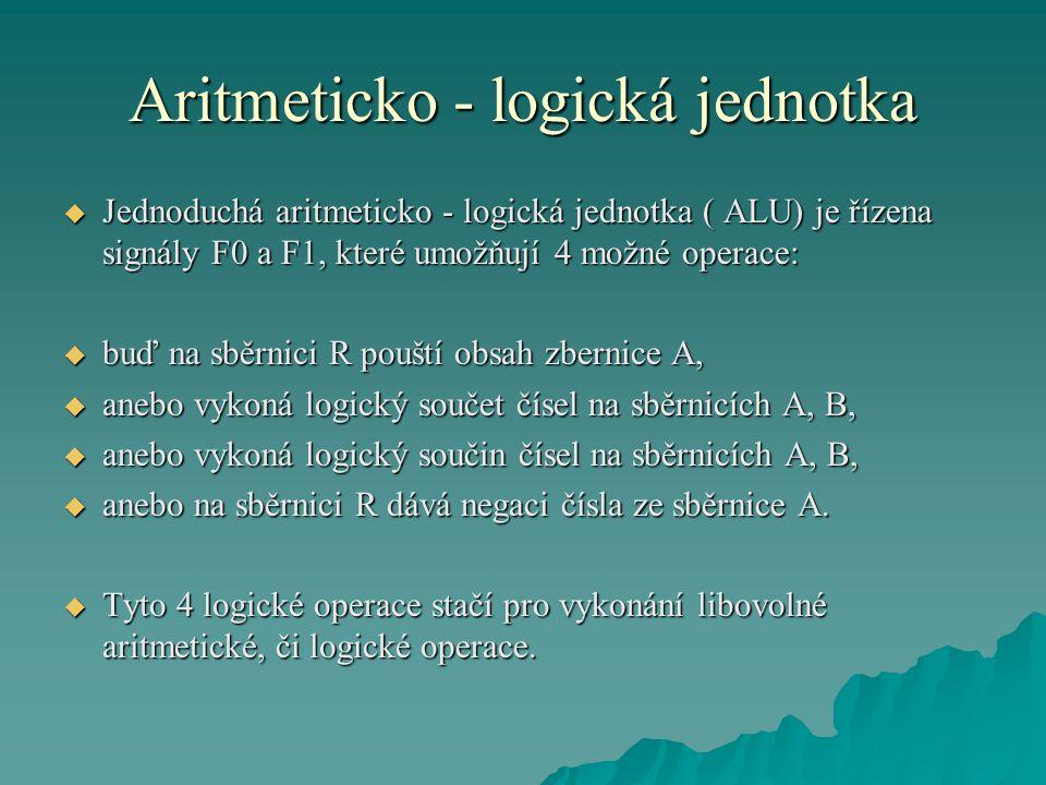 Aritmeticko - logická jednotka  Jednoduchá aritmeticko - logická jednotka ( ALU) je řízena signály F0 a F1, které umožňují 4 možné operace:  buď na sběrnici R pouští obsah zbernice A,  anebo vykoná logický součet čísel na sběrnicích A, B,  anebo vykoná logický součin čísel na sběrnicích A, B,  anebo na sběrnici R dává negaci čísla ze sběrnice A.