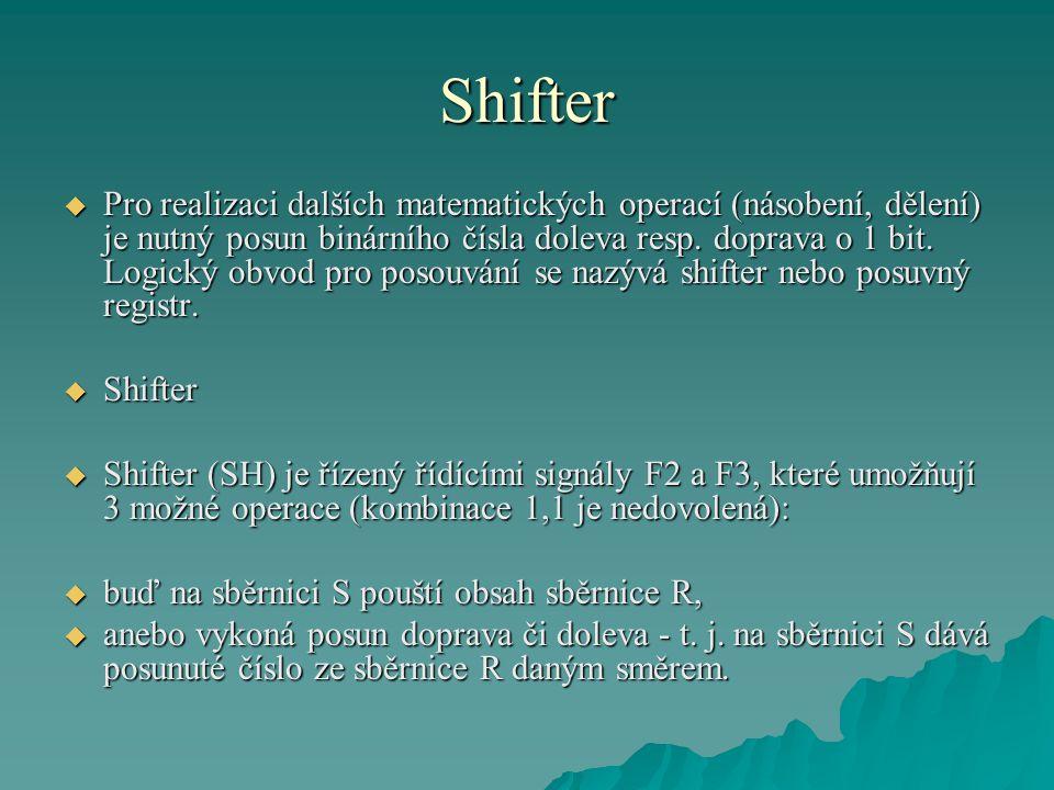Shifter  Pro realizaci dalších matematických operací (násobení, dělení) je nutný posun binárního čísla doleva resp.