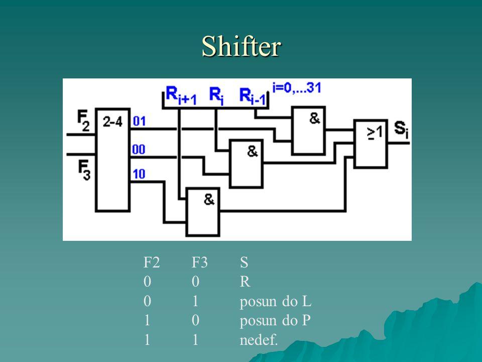 Shifter F2F3S 0 0R 0 1posun do L 1 0posun do P 1 1nedef.