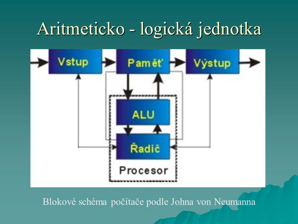 Aritmeticko - logická jednotka Blokové schéma počítače podle Johna von Neumanna