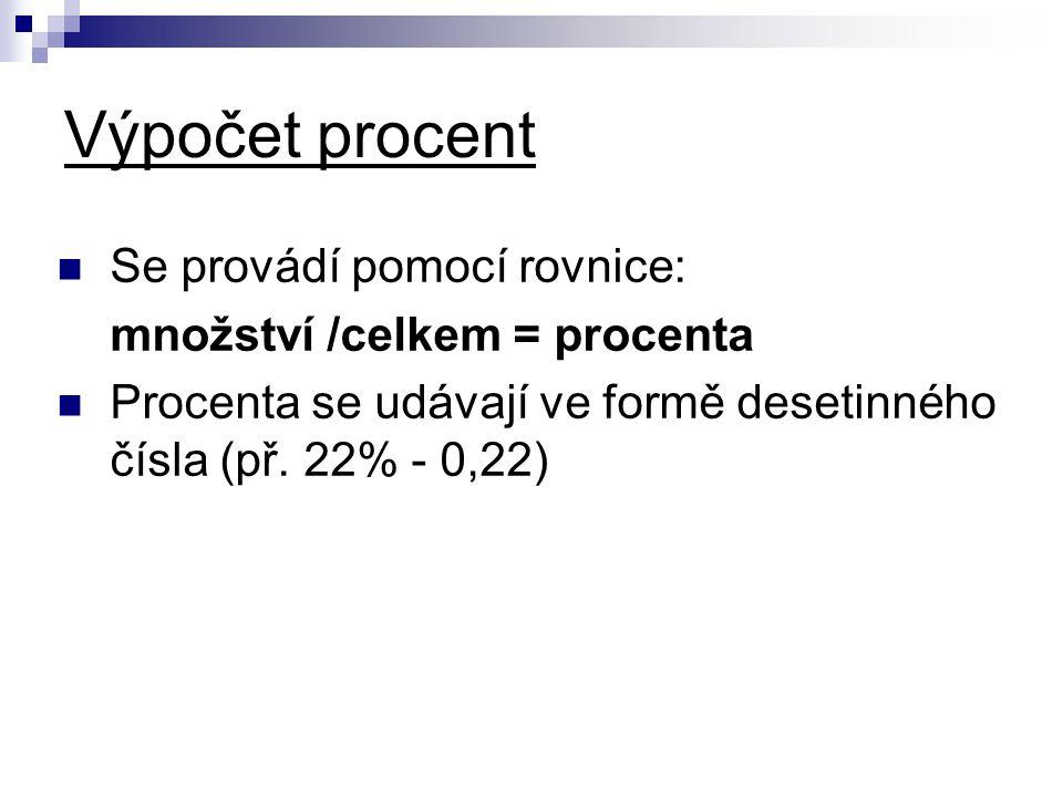 Výpočet procent Se provádí pomocí rovnice: množství /celkem = procenta Procenta se udávají ve formě desetinného čísla (př.