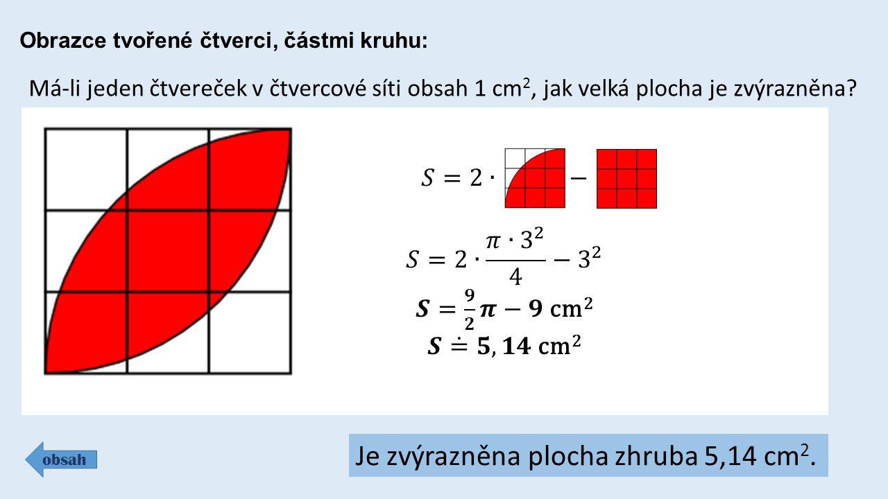 Obrazce tvořené čtverci, částmi kruhu: obsah Má-li jeden čtvereček v čtvercové síti obsah 1 cm 2, jak velká plocha je zvýrazněna.