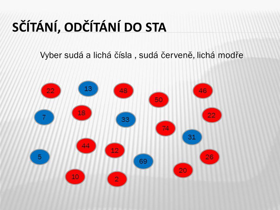 Vyber sudá a lichá čísla, sudá červeně, lichá modře 7 SČÍTÁNÍ, ODČÍTÁNÍ DO STA 13 18 22 33 44 22 12 7 48 69 74 31 50 46 5 20 26 2 10