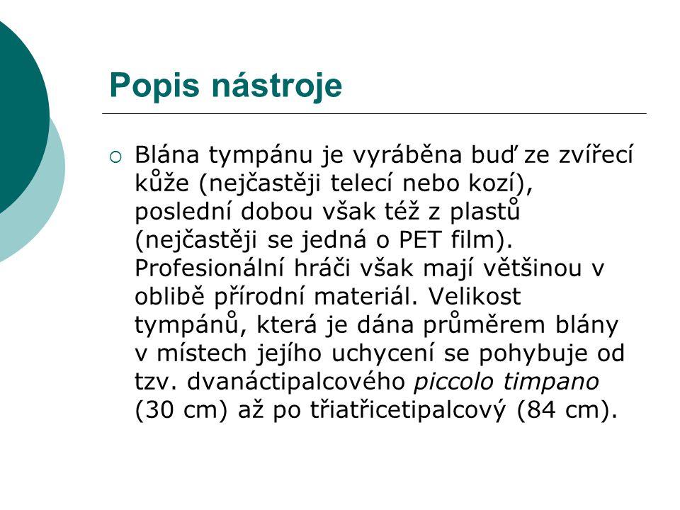 Popis nástroje  Blána tympánu je vyráběna buď ze zvířecí kůže (nejčastěji telecí nebo kozí), poslední dobou však též z plastů (nejčastěji se jedná o PET film).