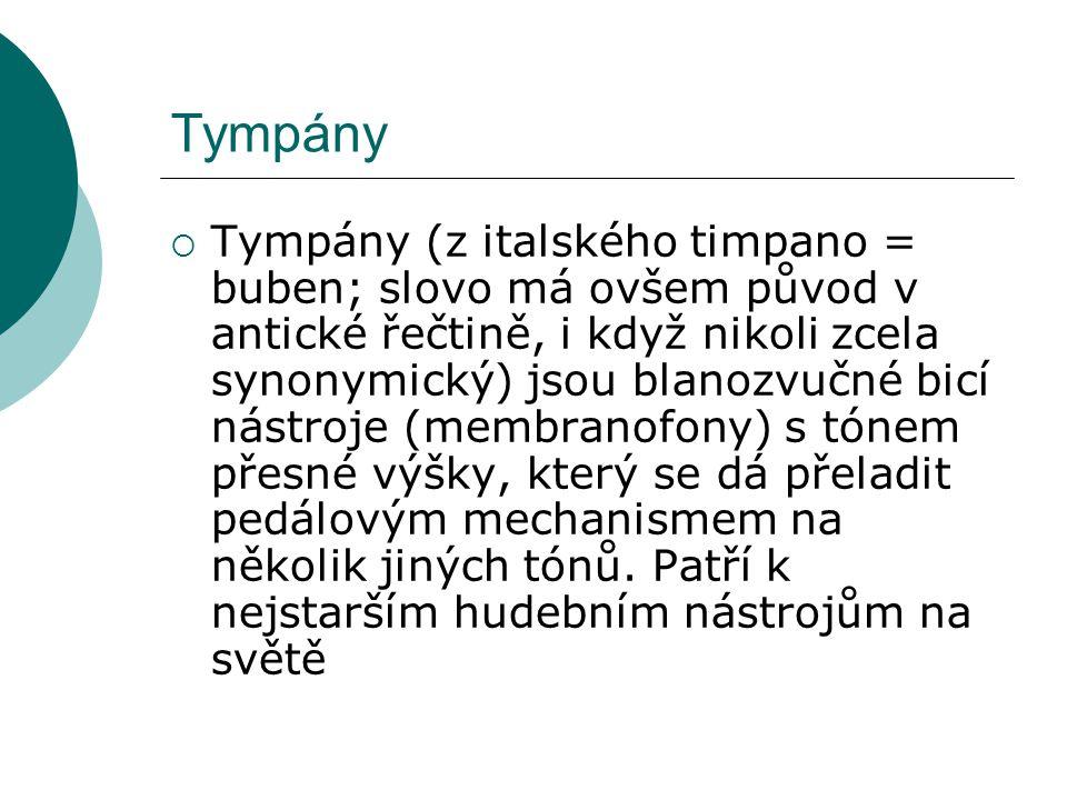 Tympány  Tympány (z italského timpano = buben; slovo má ovšem původ v antické řečtině, i když nikoli zcela synonymický) jsou blanozvučné bicí nástroje (membranofony) s tónem přesné výšky, který se dá přeladit pedálovým mechanismem na několik jiných tónů.