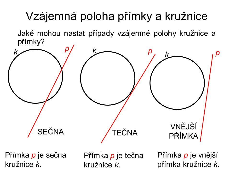 Vzájemná poloha přímky a kružnice Jaké mohou nastat případy vzájemné polohy kružnice a přímky? p k k p k p SEČNA Přímka p je sečna kružnice k. TEČNA P