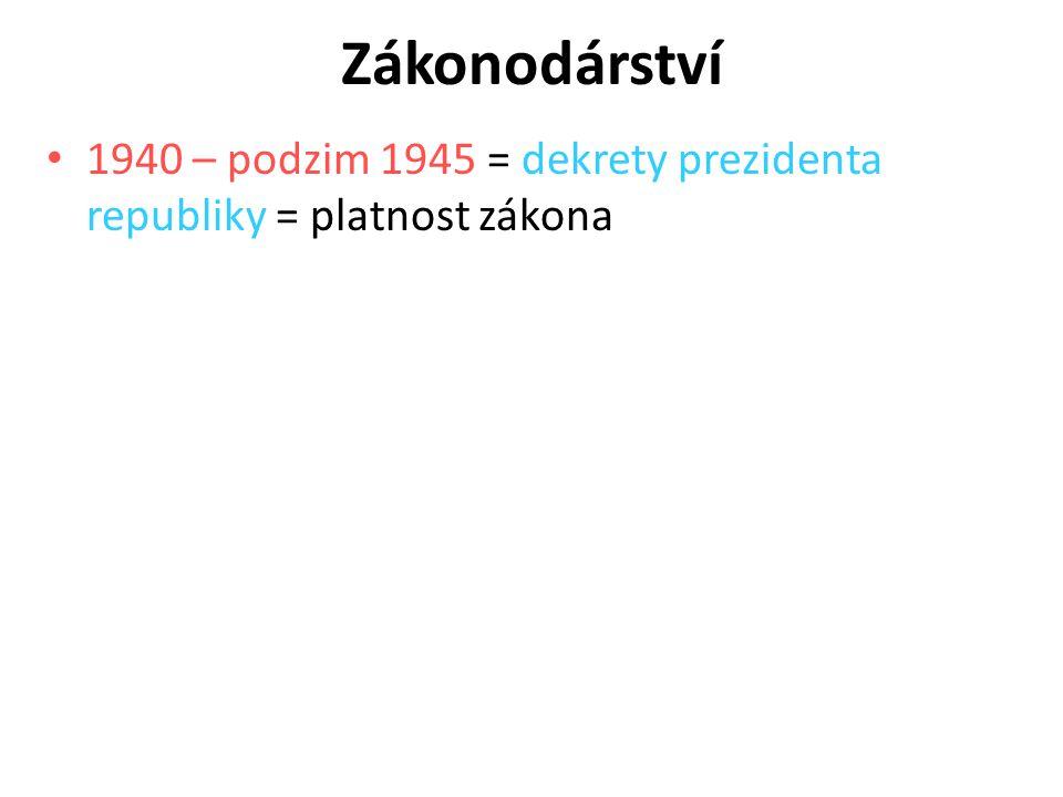 Zákonodárství 1940 – podzim 1945 = dekrety prezidenta republiky = platnost zákona