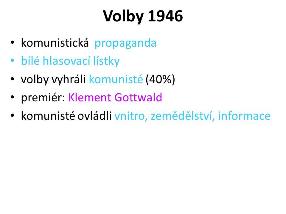 Volby 1946 komunistická propaganda bílé hlasovací lístky volby vyhráli komunisté (40%) premiér: Klement Gottwald komunisté ovládli vnitro, zemědělství