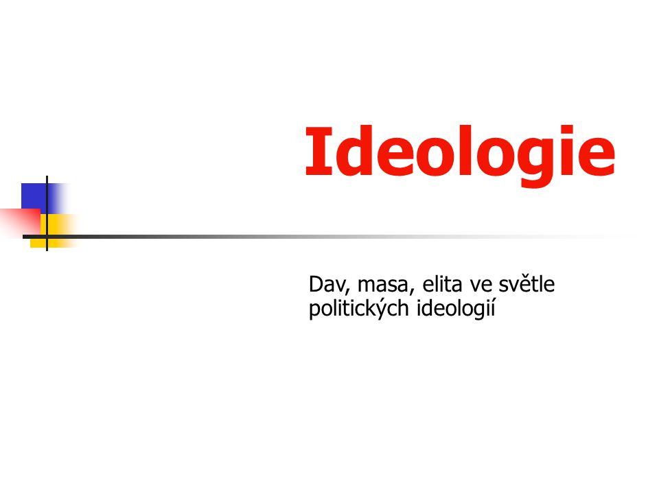 Ideologie Soubory idejí, tvoří základ politického myšlení Světonázorové systémy, které pomáhají poznat a vysvětlovat svět – podávají komplexní teorii člověka i společnosti Komplexní a relativně konzistentní soubor názorů, morálních postojů i logických úvah vyjadřující zásadní životní postoje i cíle určité sociální skupiny.