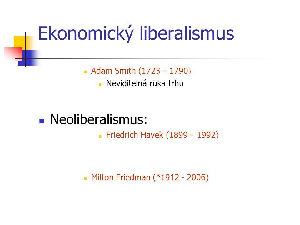 Ekonomický liberalismus Adam Smith (1723 – 1790 ) Neviditelná ruka trhu Neoliberalismus: Friedrich Hayek (1899 – 1992) Milton Friedman (*1912 - 2006)