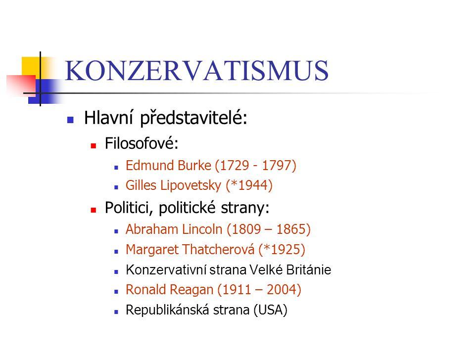 KONZERVATISMUS Hlavní představitelé: Filosofové: Edmund Burke (1729 - 1797) Gilles Lipovetsky (*1944) Politici, politické strany: Abraham Lincoln (180