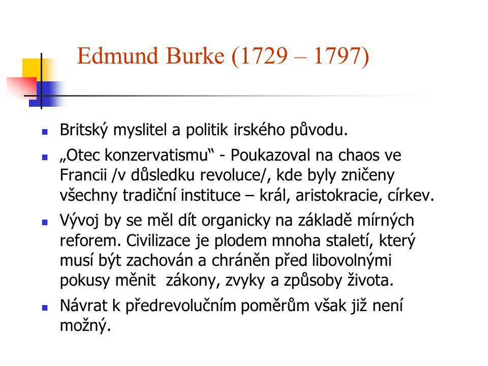 """Edmund Burke (1729 – 1797) Britský myslitel a politik irského původu. """"Otec konzervatismu"""" - Poukazoval na chaos ve Francii /v důsledku revoluce/, kde"""