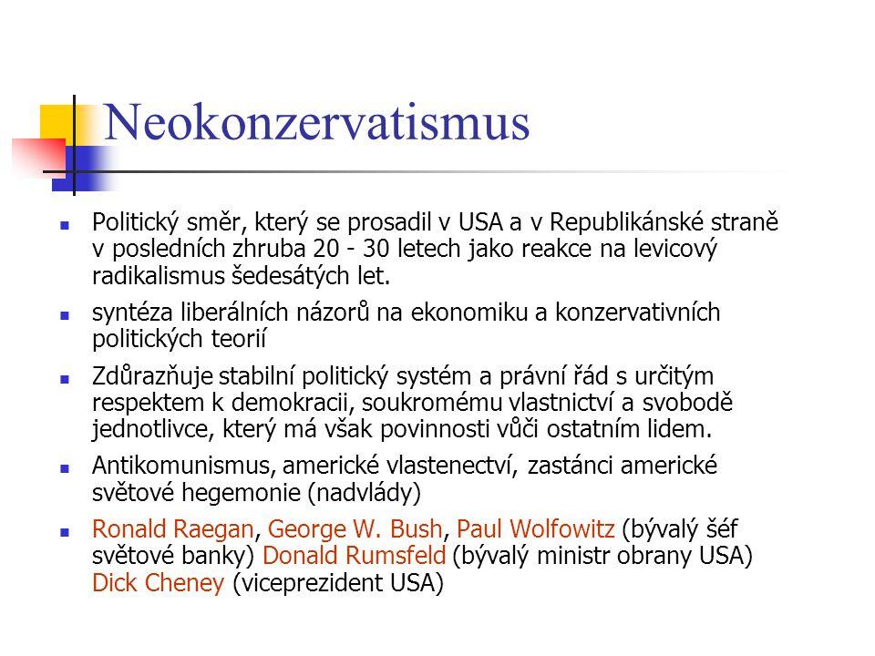 Neokonzervatismus Politický směr, který se prosadil v USA a v Republikánské straně v posledních zhruba 20 - 30 letech jako reakce na levicový radikali