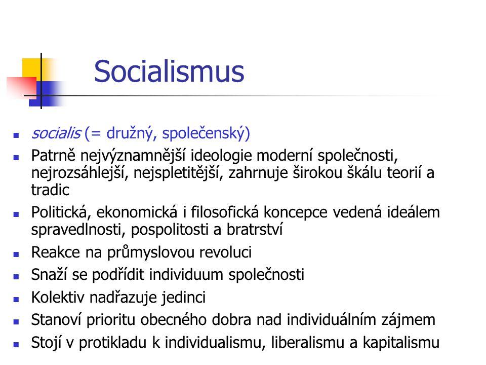 Socialismus socialis (= družný, společenský) Patrně nejvýznamnější ideologie moderní společnosti, nejrozsáhlejší, nejspletitější, zahrnuje širokou šká
