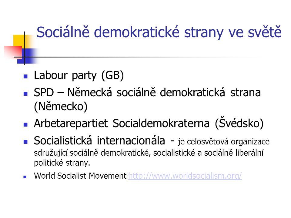 Sociálně demokratické strany ve světě Labour party (GB) SPD – Německá sociálně demokratická strana (Německo) Arbetarepartiet Socialdemokraterna (Švéds