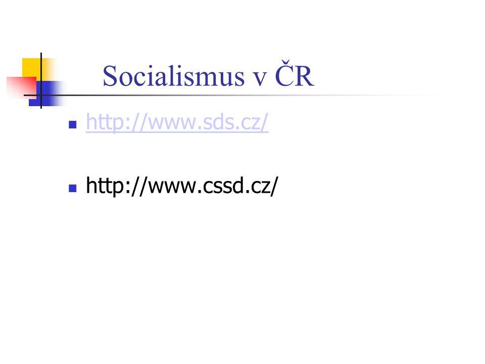 Socialismus v ČR http://www.sds.cz/ http://www.cssd.cz/