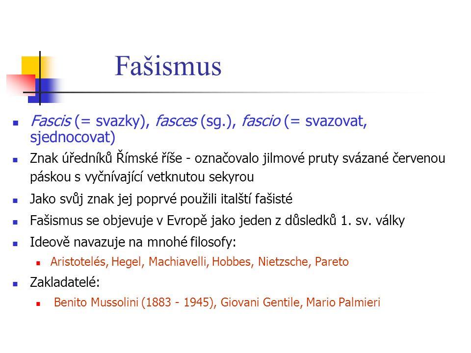 Fašismus Fascis (= svazky), fasces (sg.), fascio (= svazovat, sjednocovat) Znak úředníků Římské říše - označovalo jilmové pruty svázané červenou pásko