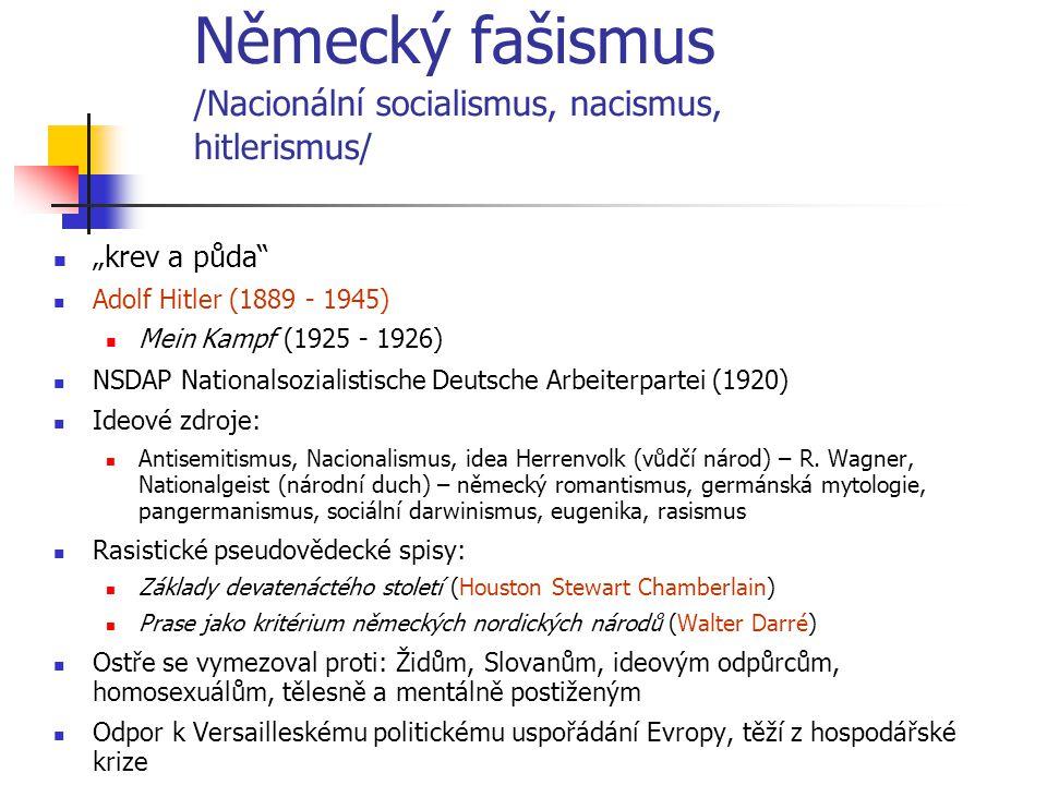 """Německý fašismus /Nacionální socialismus, nacismus, hitlerismus/ """"krev a půda"""" Adolf Hitler (1889 - 1945) Mein Kampf (1925 - 1926) NSDAP Nationalsozia"""