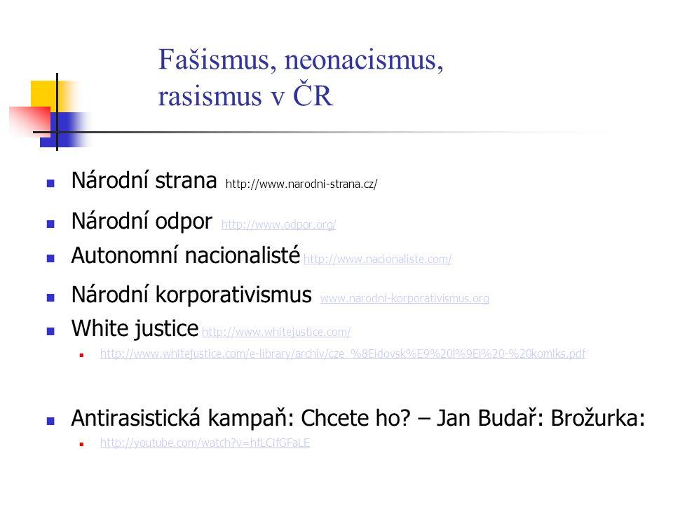 Fašismus, neonacismus, rasismus v ČR Národní strana http://www.narodni-strana.cz/ Národní odpor http://www.odpor.org/ http://www.odpor.org/ Autonomní