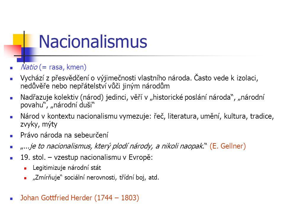 Nacionalismus Natio (= rasa, kmen) Vychází z přesvědčení o výjimečnosti vlastního národa. Často vede k izolaci, nedůvěře nebo nepřátelství vůči jiným