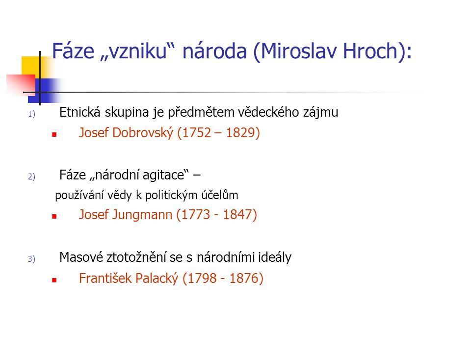 """Fáze """"vzniku"""" národa (Miroslav Hroch): 1) Etnická skupina je předmětem vědeckého zájmu Josef Dobrovský (1752 – 1829) 2) Fáze """"národní agitace"""" – použí"""
