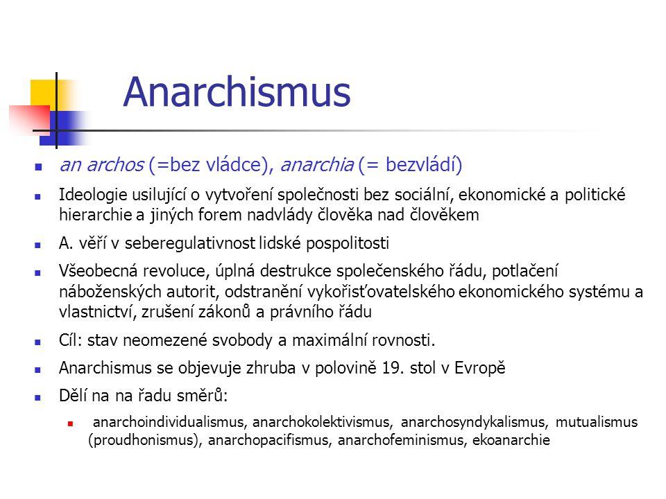 Anarchismus an archos (=bez vládce), anarchia (= bezvládí) Ideologie usilující o vytvoření společnosti bez sociální, ekonomické a politické hierarchie