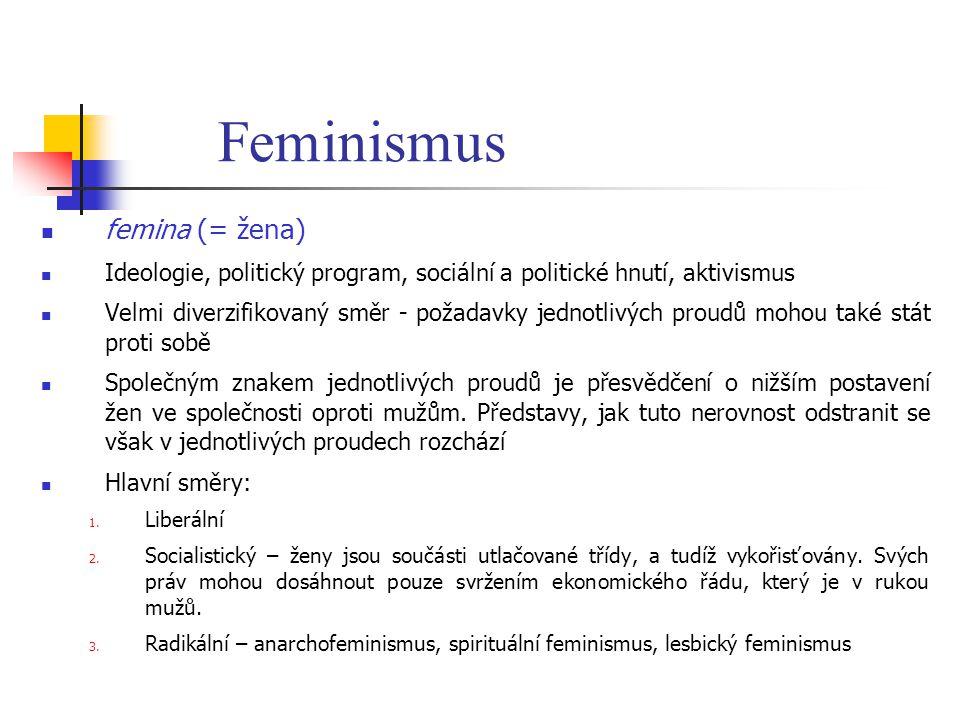 Feminismus femina (= žena) Ideologie, politický program, sociální a politické hnutí, aktivismus Velmi diverzifikovaný směr - požadavky jednotlivých pr