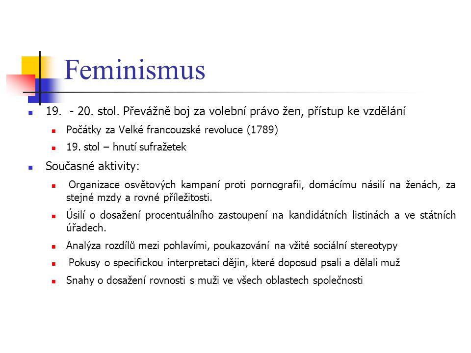 Feminismus 19. - 20. stol. Převážně boj za volební právo žen, přístup ke vzdělání Počátky za Velké francouzské revoluce (1789) 19. stol – hnutí sufraž