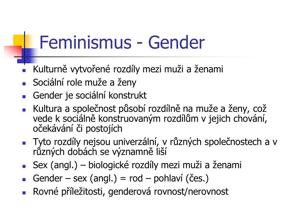 Feminismus - Gender Kulturně vytvořené rozdíly mezi muži a ženami Sociální role muže a ženy Gender je sociální konstrukt Kultura a společnost působí r